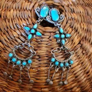 Beautiful Vintage Sterling Zuni Turquoise Earrings